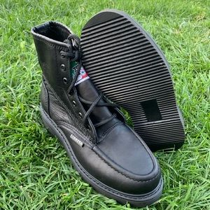 Men's work black boots moc Soft toe